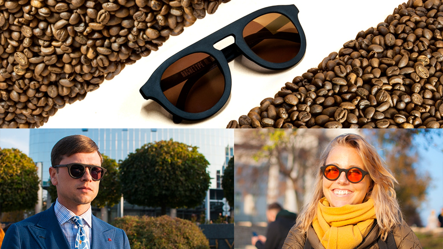 Organic sunglasses made of natural coffee grounds and flax with Polarized Lenses.