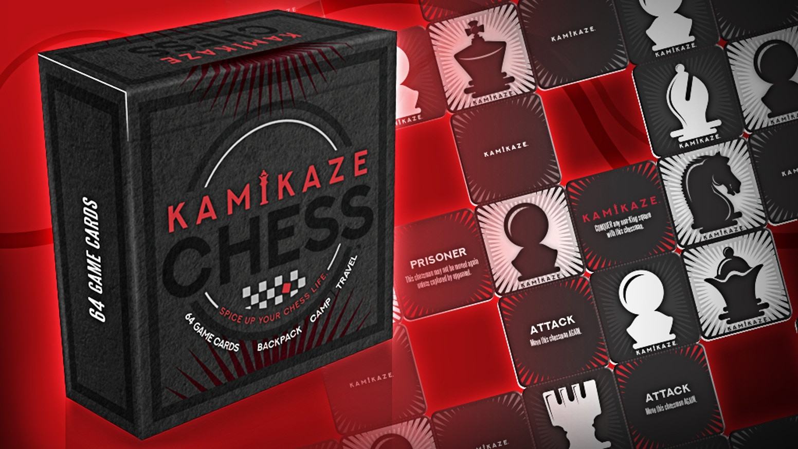 Accelerated variant deck of multi-functional Chess Cards. Add into real games or take as an all-in-one travel Chess set + 'board'!