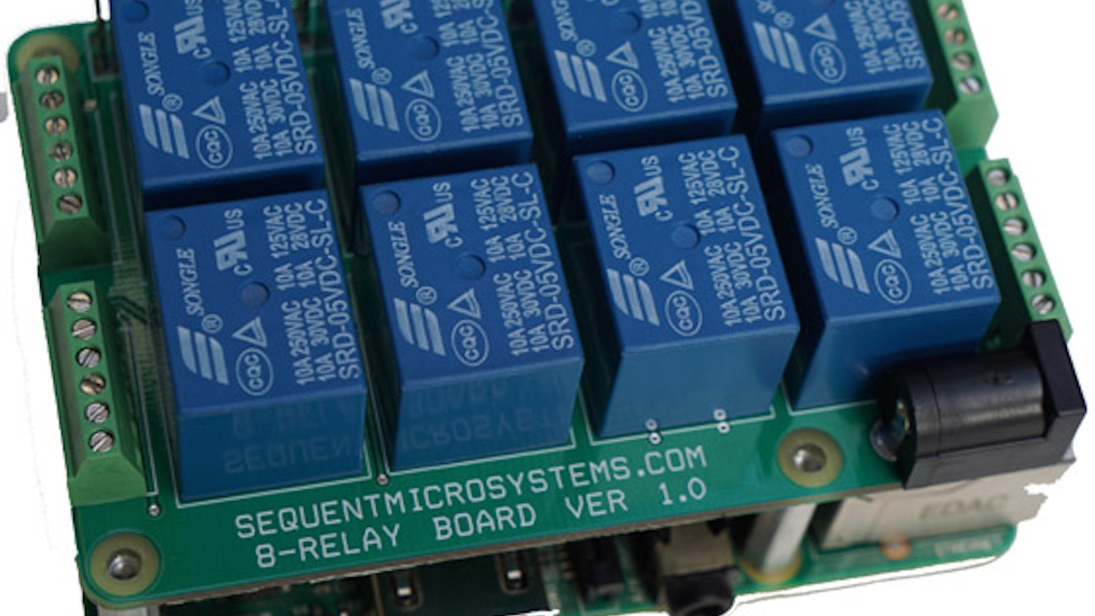 Stackable 8-Relay Card for Raspberry Pi 2/3/Zero by Mihai Beffa