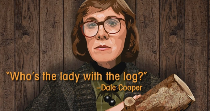 Catherine Coulson as the Log Lady in Twin Peaks (Illustration by Martin Woutisseth)