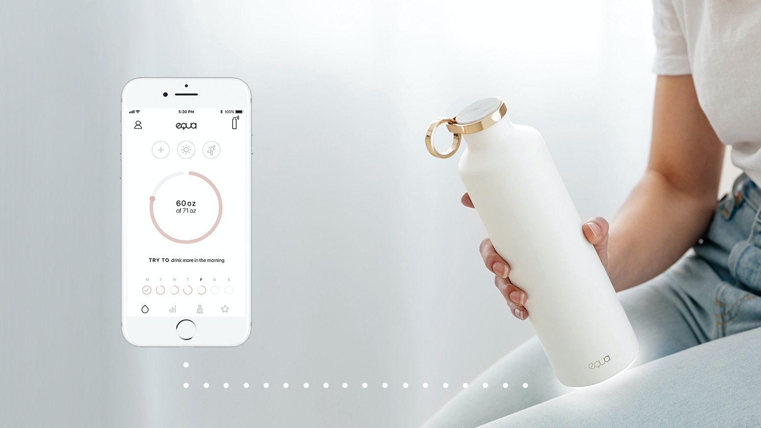 A healthy lifestyle reminder and hydration habit builder with motion sensor tech that knows when it's time for your next sip of water.