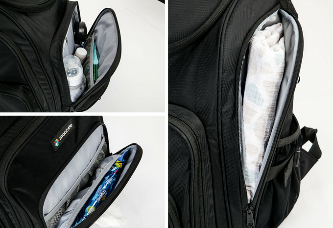 Large Front Pocket, Wipes and Accessories Pocket and Wet Pocket. The Wet Pocket is great for storing blankets and extra diapers when not in use.