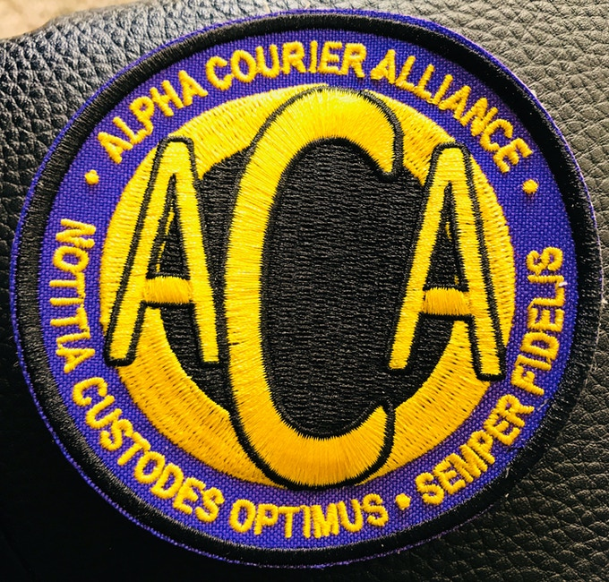 Custom Ordered OMEGA 1 Alpha Courier Alliance Officer Uniform Arm Patches