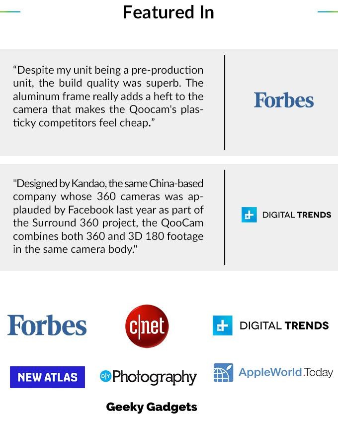 QooCam: World's First interchangeable 4K 360° & 3D Camera by
