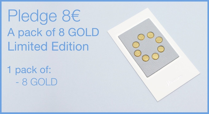 Pledge 8€ - A pack of 8 Leather Webcam Covers. 8 gold. LIMITED EDITION, Kickstarter only!