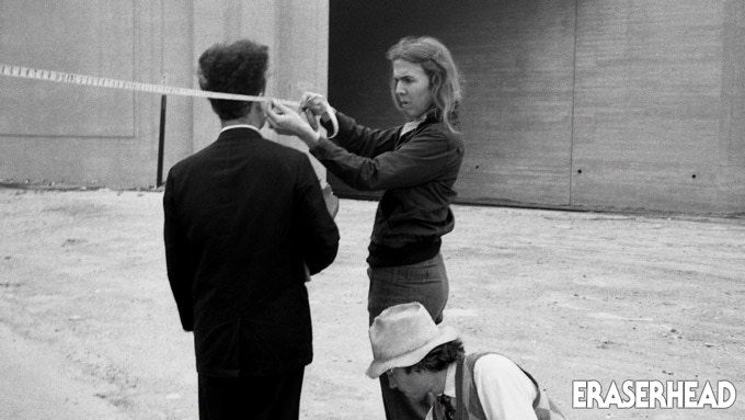 Catherine Coulson, Jack Nance and David Lynch on the set of Eraserhead in the '70s