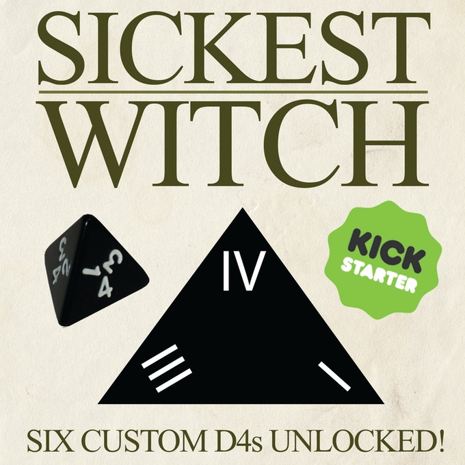 Roman Numeral 4-sided Dice Come with Sickest Witch