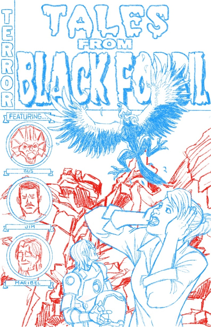 """Print A """"Terror Tales from Black Fossil"""" (NOT FINAL ARTWORK) by Mark Dos Santos (A Train Called Love, Imperial)"""