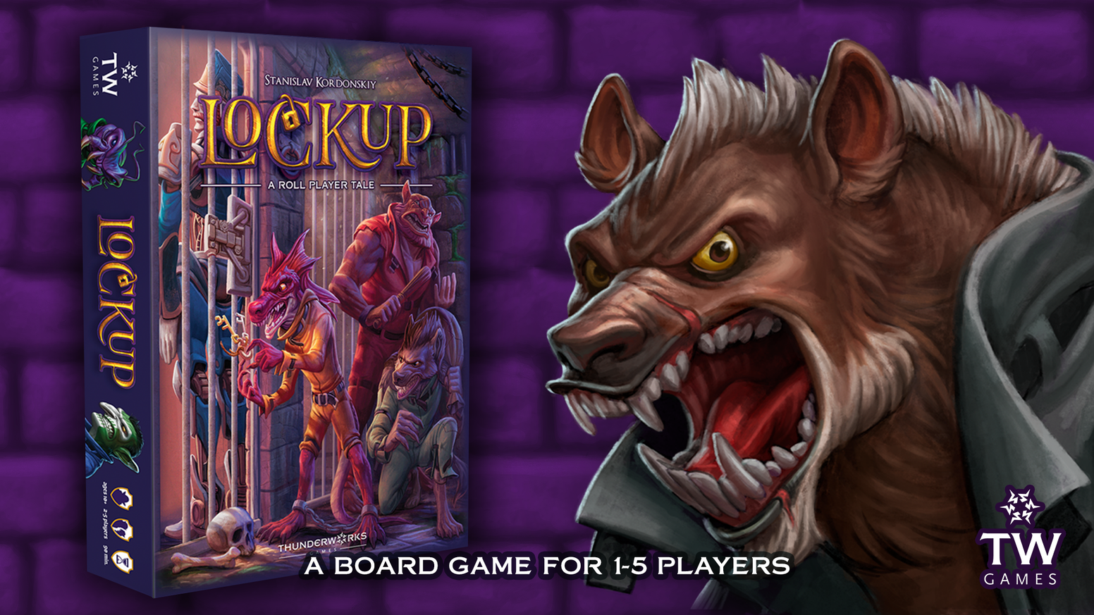A stand-alone competitive fantasy worker-placement board game for 1-5 players, set in Kulbak Prison, in the world of Roll Player.
