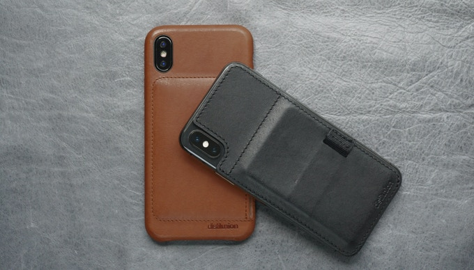 Wally Case in Hickory Brown, and Wally Stick-On in Ink Black.