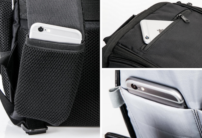 On the Shoulder Strap, lined with microfiber on the Lid and in the Technology pocket.