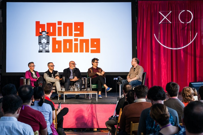 Interviewing the editors of Boing Boing at XOXO in Portland, Oregon (Photo by Duncan Rawlinson)