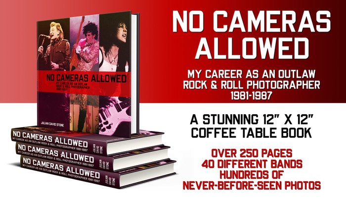 A coffee table book of never-before-seen rock and roll photos I took in the 1980's, plus all the wild adventures I had taking them.