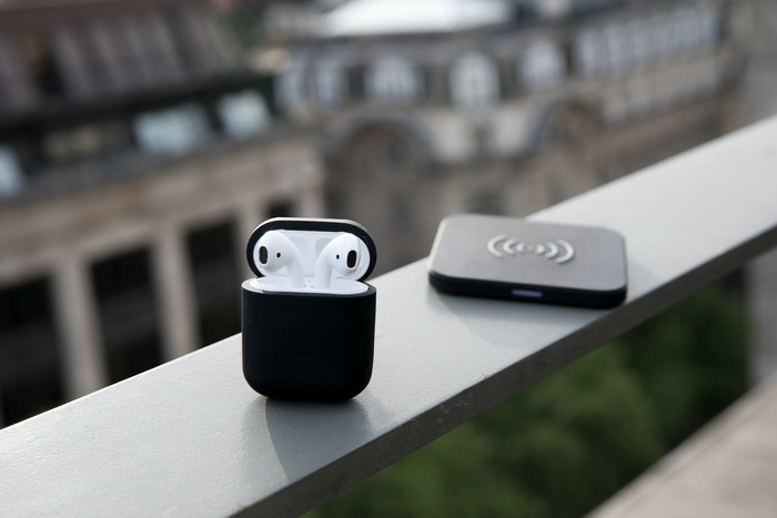 dc30b399012 A sleek and stylish silicone case that enables wireless charging for your  AirPods.