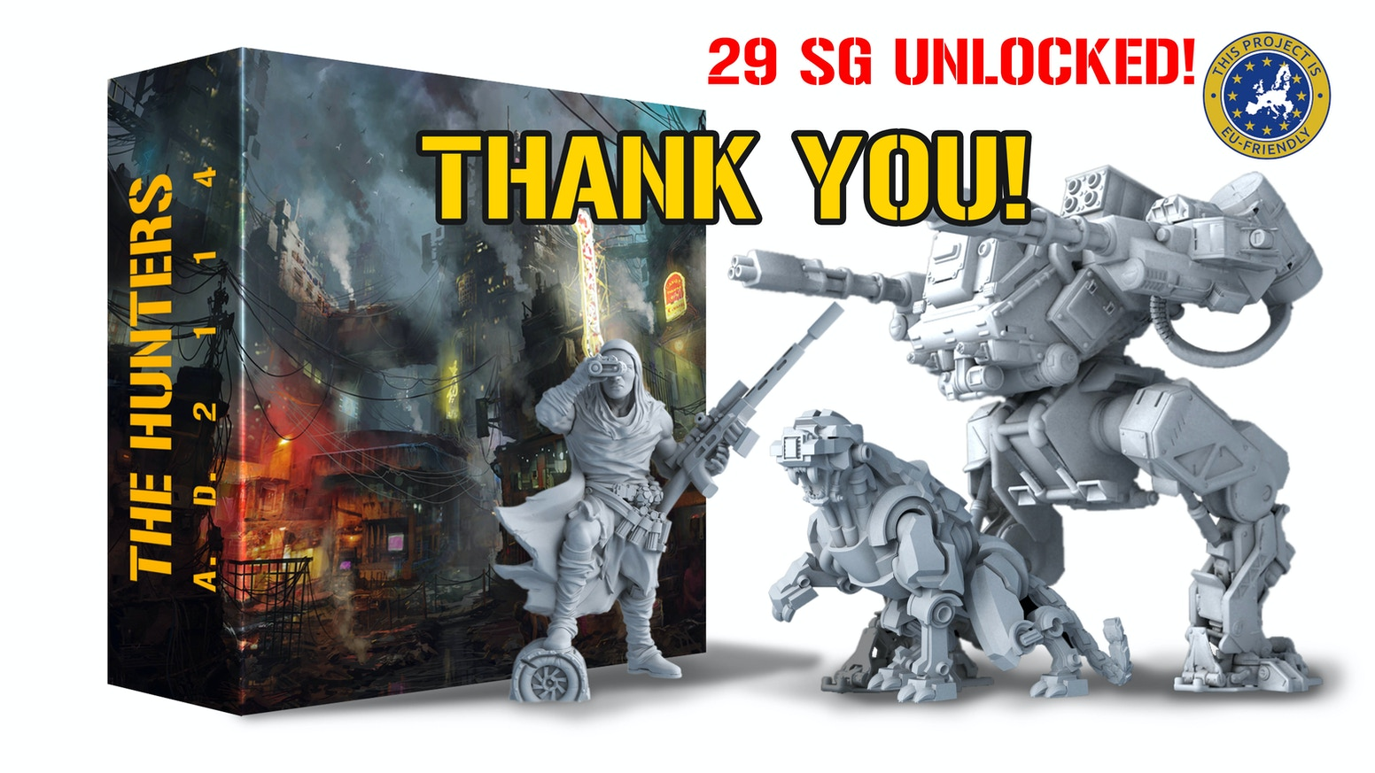The Hunters AD 2114 is a cooperative board game for 1-4 players. Become a hunter and face enemies in a post-apocalyptic world.