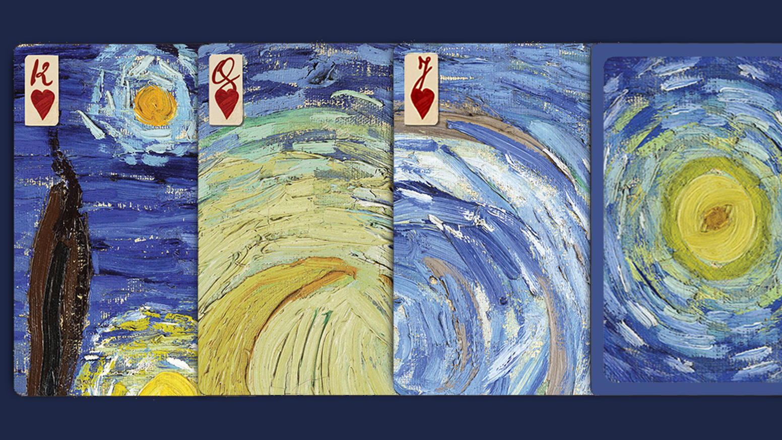 Vincent van Gogh's The Starry Night playing cards as a puzzle; featuring Vincent's handwriting & suits found in his paintings.