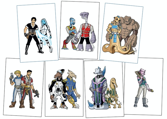 "Set of seven 4""x6"" Vol 1 Character Cards"