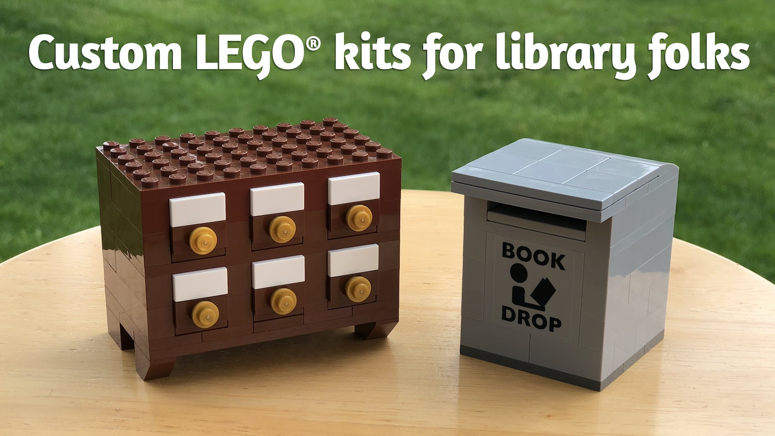 Custom card catalog and book drop kits made out of genuine LEGO® elements.