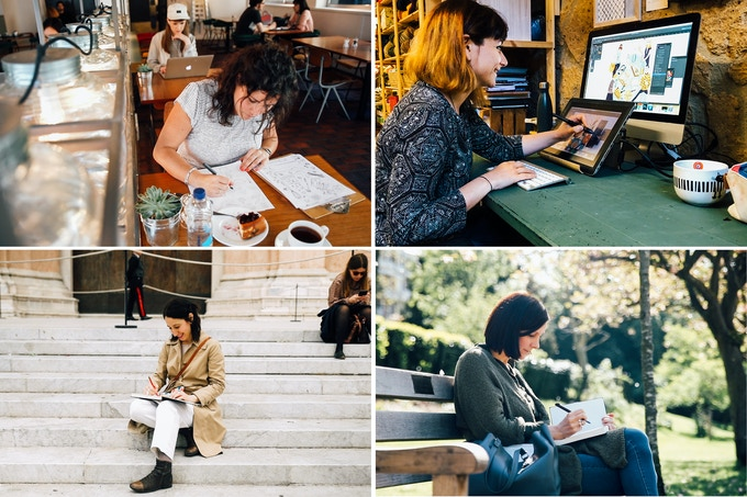 Our wonderful illustrators: Alessandra, Elisa, Giorgia, Lida.