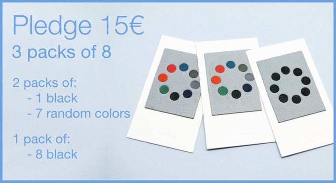 Pledge 15€ - 3 packs of 8 Leather Webcam Covers. 16 random colors (including 2 black) and 8 black