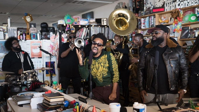 The Roots featuring Bilal perform a Tiny Desk Concert. (Claire Harbage/NPR)