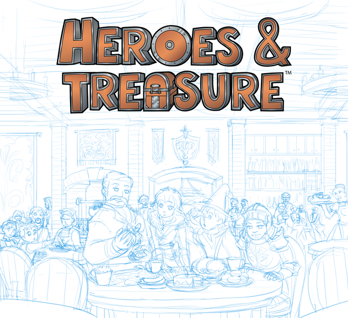 The box art in sketch form, waiting to see which backers pledge to be pictured there.