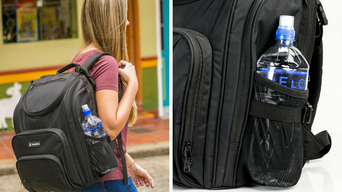 Expandable pocket with cinch strap easily fits a 1 Liter bottle and some larger bottles.