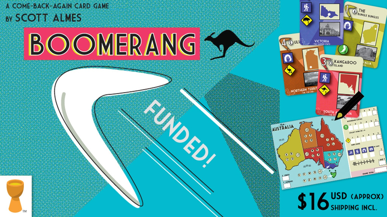 What will you see as you travel around 'Straya? Designed by Scott Almes, Boomerang mixes card-drafting with roll-and-write game play.