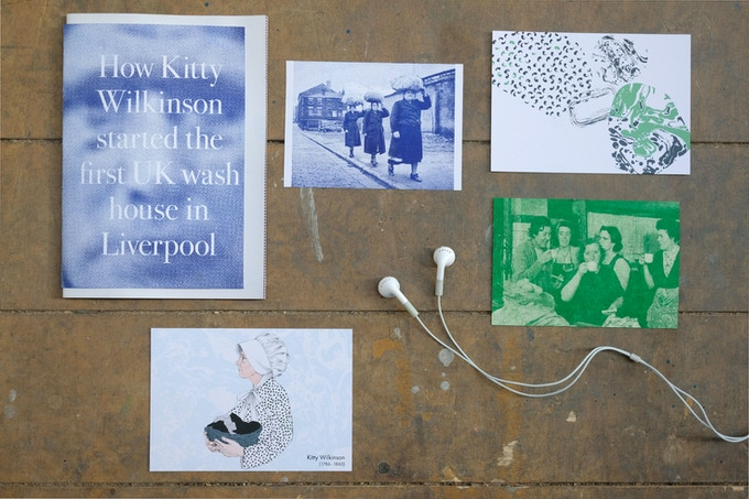 History bundle, Risograph Zine by Designer Louis Tuckman, Postcards by Artist Ria Fell and Folk wash songs by Liverpool Musician Mikey Kenny