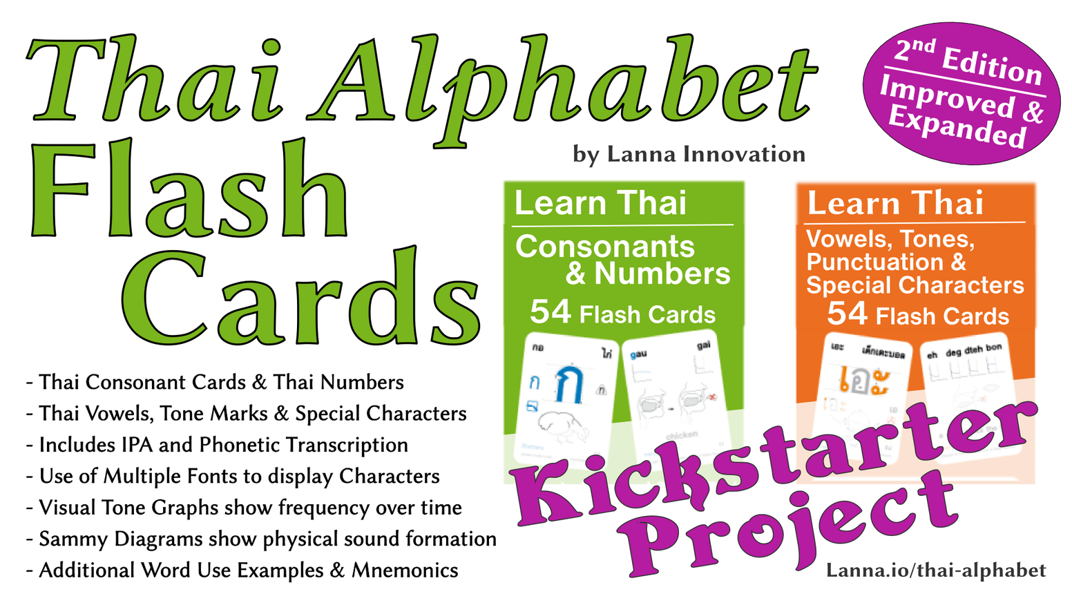 Thai Alphabet Cards - Improved & Expanded by Lanna Innovation