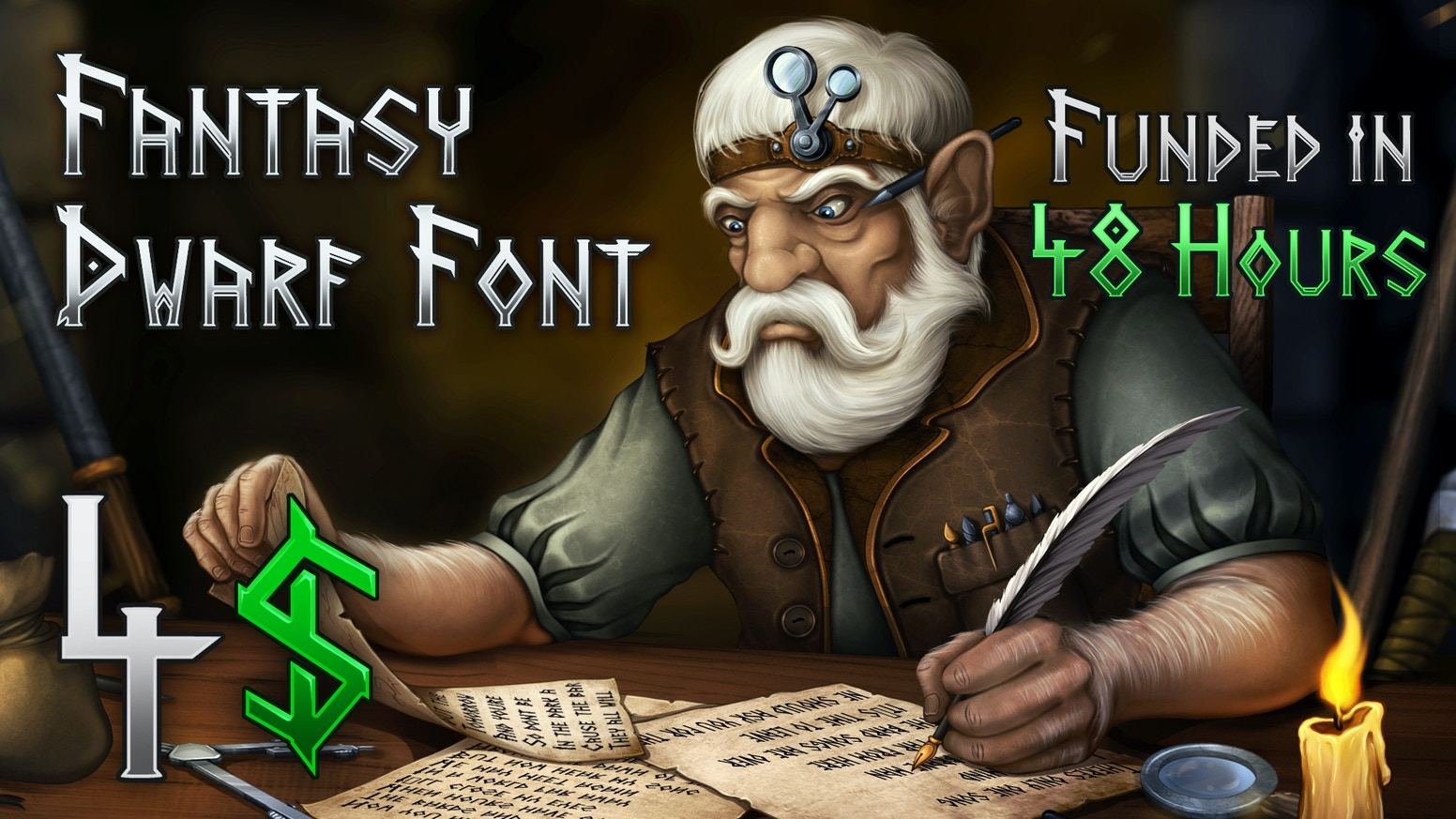Write like a true Dwarven Runesmith! A font with more than 70 characters for your fantasy project, website, film, video or artbook.