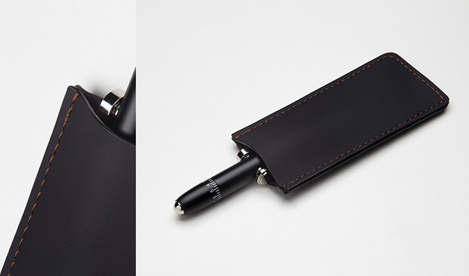 A handmade PU leather carrying pouch with color enhanced stitching is included with every Orbit Pen