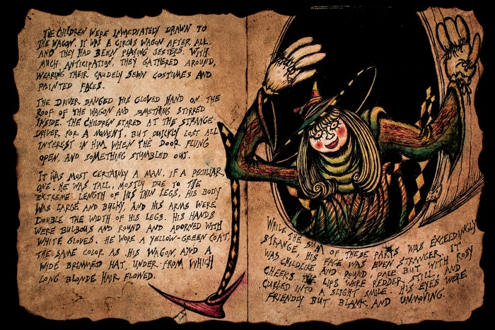 The Crawling King is a fully-illustrated collection of horror stories by award winning independent animator, Einar Baldvin. This massive, cloth-bound book features 200 pages of ink and watercolor illustrations and hand-written stories.