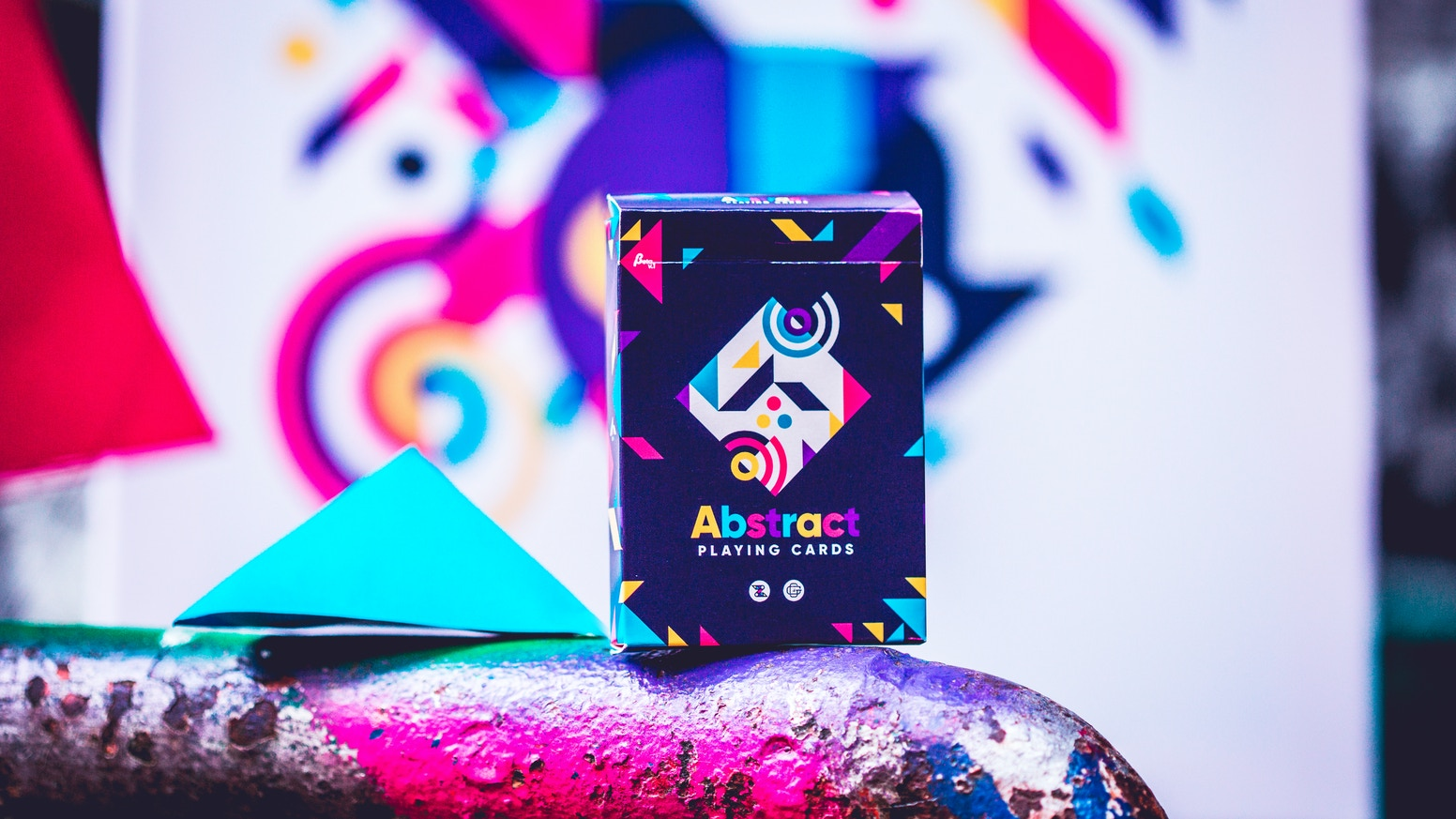 A fresh, colorful and ABSTRACT designer's deck of playing cards made for cardists, occasional magicians, and any card enthusiast!