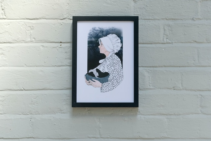 Limited edition, Kitty Wilkinson illustration by Liverpool artist Ria Fell