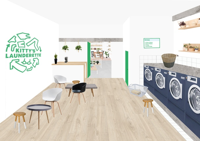 Artist collage of how laundry space might look by Myriam Lahnite