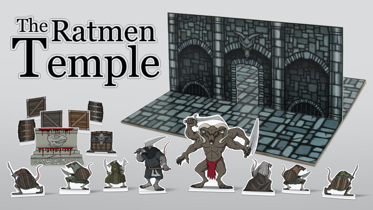 The Ratmen Temple is a fantasy paper model with miniatures created for tabletop role-playing games like Pathfinder and 5th Edition.