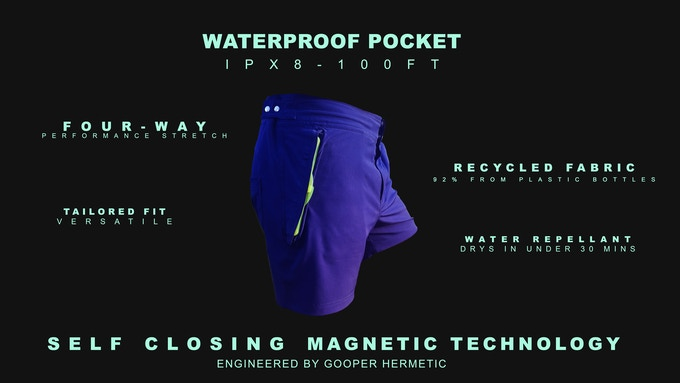 Waterproof pocket shorts. aquanautia