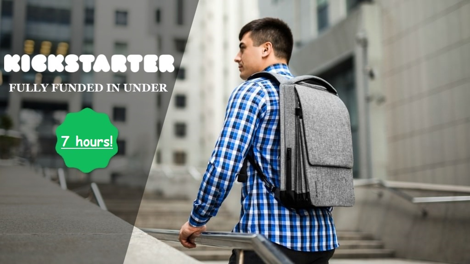 Thin tech backpack with a unique expandable system, which allows you to expand the bag up to 450% of original volume in one simple move