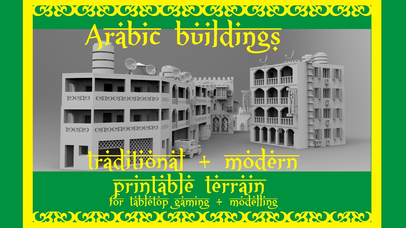 Arabic printable tabletop terrain. Stl files for your arabic wargame or modelling. You will get traditional and modern buildings.