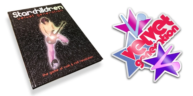 Actual print copies of the original Starchildren: Velvet Generation (2002) and sweet decals for your guitar/laptop/spaceship are just some of the rewards you can get! (sticker designs subject to change!)