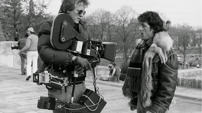 Above: The third film Garrett Brown used his invention on was Rocky -- for the training sequence, the shot of Rocky running up the museum steps, and the big fight. That's Garrett with an early version of the Steadicam, with Sylvester Stallone.