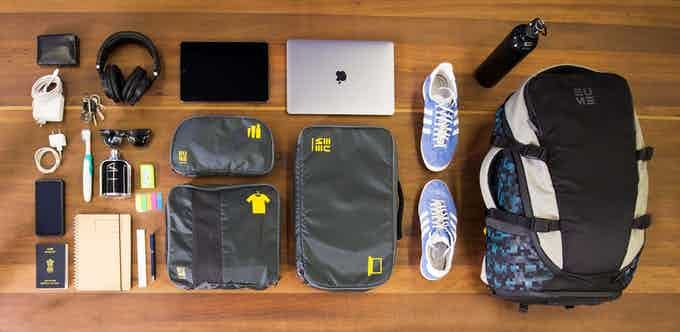 Travel accessories can be comfortably packed in the bag