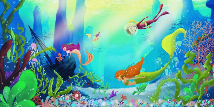 """""""Under the sea I secretly swam with mermaids and fishy friends..."""""""