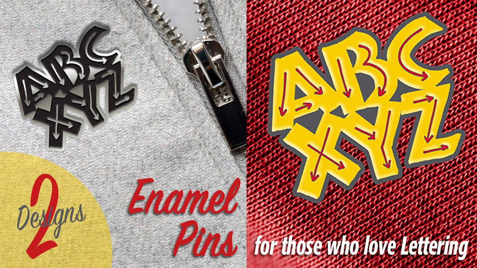 A fun accessory for anyone who loves lettering or calligraphy. Wear it as a statement or add it to your pin collection!