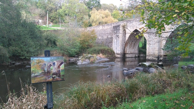 'Le Pont Romain', one of my plein air paintings in soft pastel