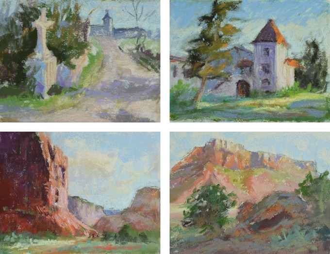 Examples of small 3 x 4 inch pastel studies