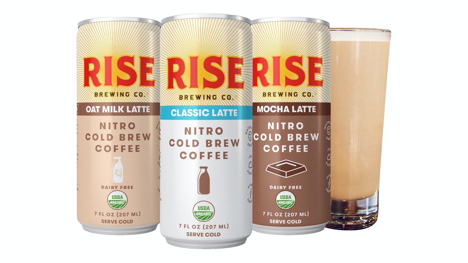 nitro cold brew coffee lattes by rise brewing co by rise brewing co