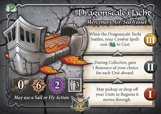 The Dragonscale Yacht is a new Mercenary Vessel featured in the Pestilence Booster Pack.