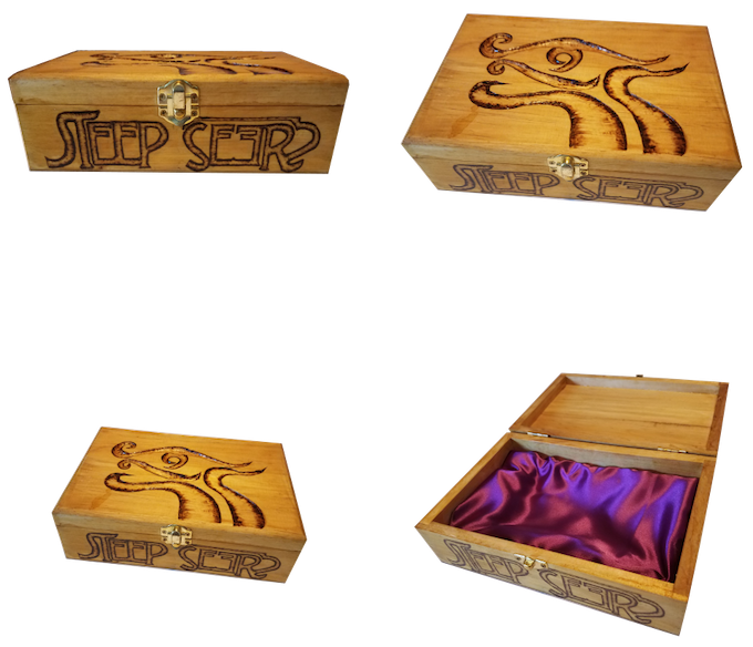 This prototype has a purple interior with an amber stain.  All insignia were hand carved and burned.